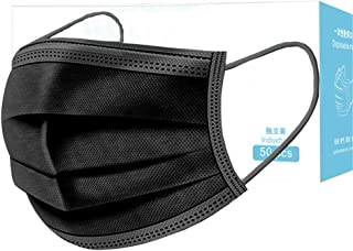 Anti Dust 3-Ply Black Face Masks,50 Pcs Elastic Earloop Breathable Dust Mask Mouth Cover Safety Mask Protection from Dust, Pollen, Pet Dander, Other Airborne Irritants