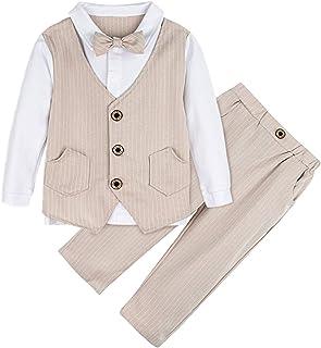 A&J DESIGN Conjunto de Camisa Manga Larga para Bebé Niños con Chaleco Pajarita Caballero 2 Piezas, Tamaño: 1-4 Años