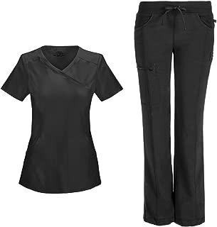 Cherokee Infinity Women's Scrub Set - 2625A Mock Wrap Top & 1123A Low Rise Straight Leg Drawstring Pant