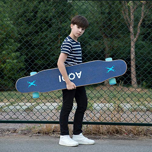 "AODI 46"" Longboard Skateboard Complete Canadian Maple Wood Double Kick Concave Maple Pro Beginner Dance Board with LED PU Wheels for Kids Adults"