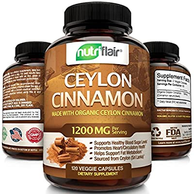 NutriFlair Ceylon Cinnamon (Made with Organic Ceylon Cinnamon) 1200mg per Serving, 120 Capsules - Healthy Blood Sugar Support, Joint Support, Anti-inflammatory & Antioxidant - True Sri Lanka Cinnamon from NutriFlair
