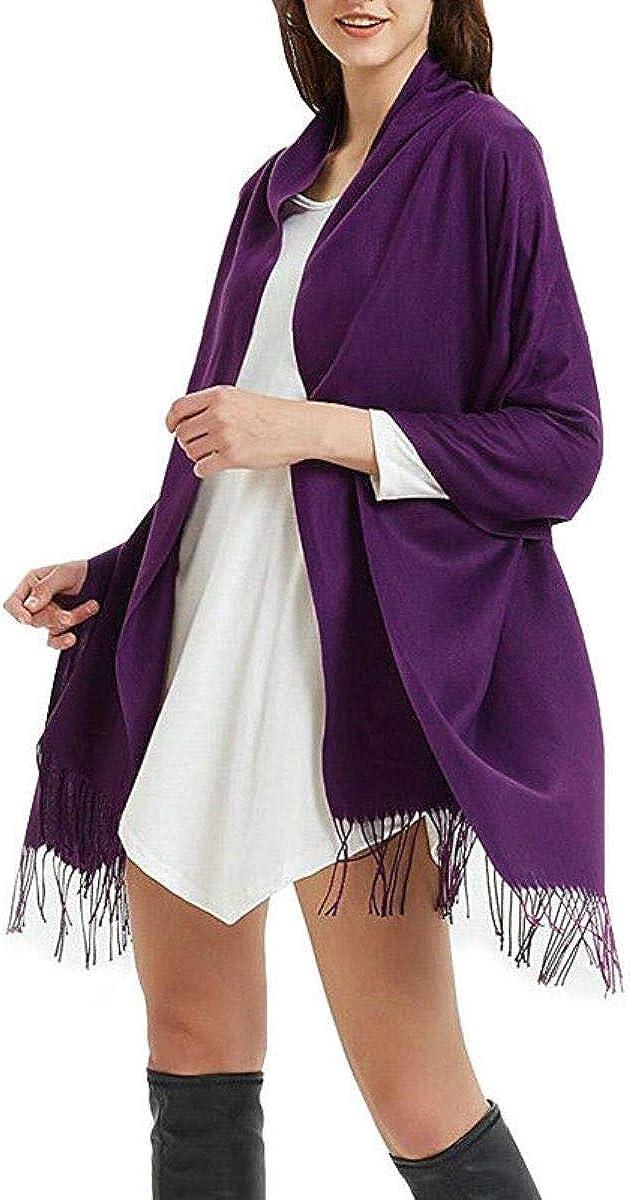 Purple - Scotland Wool Oversize 100% Cashmere Wrap Solid Scarf Blanket Shawl