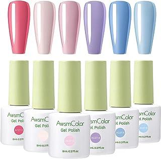 AwsmColor Gel Nail Polish Set - Spring Summer Rainbow Neon Solid 6 Colors Series Gel Polish Set, Soak Off UV LED Lamp Nail Gel Kit Required Gel Base Top Coat DIY Salon Gel Manicure Kit