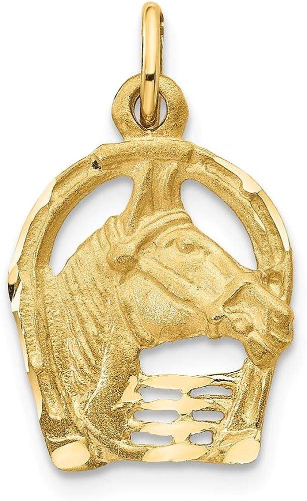 14K Yellow Gold Shiny-Cut Horse In Head Horseshoe Popular standard Charm Selling rankings