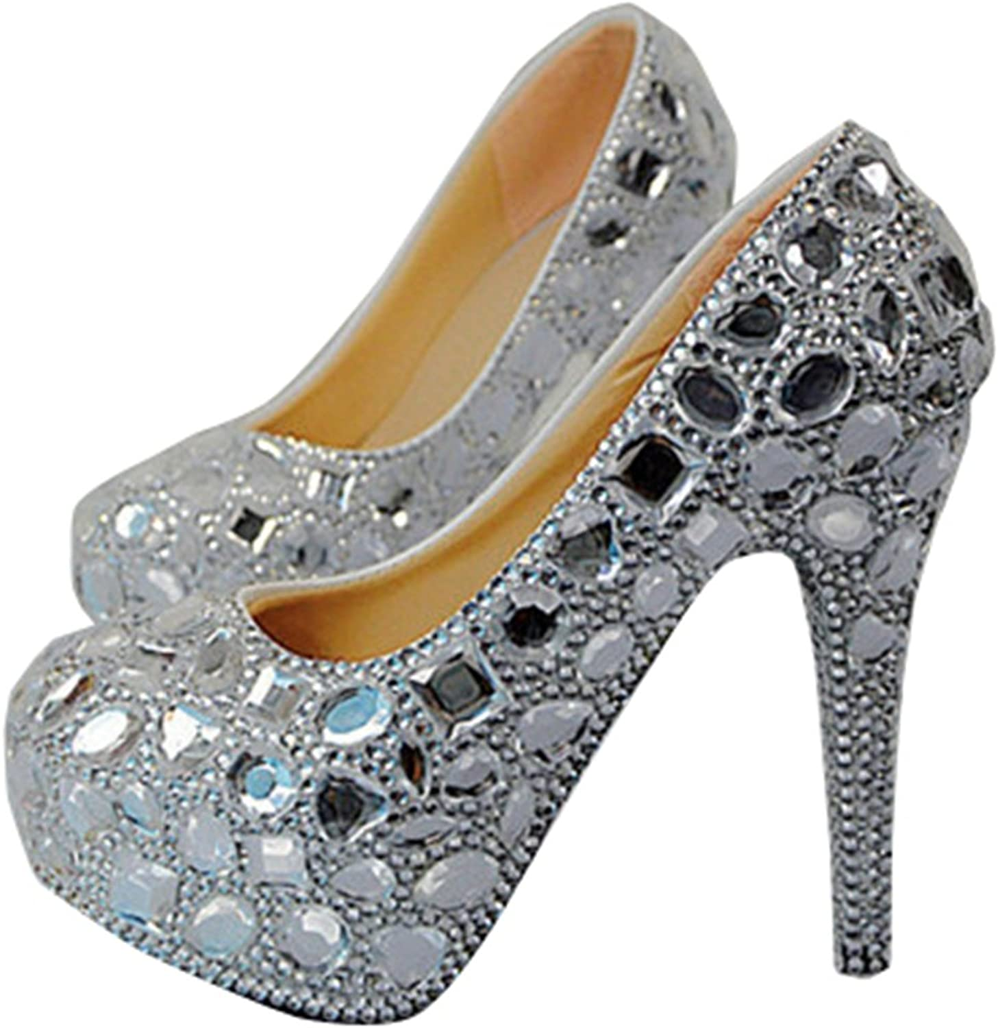 TDA Women's Shiny Rhinestones Wedding Stiletto Pumps