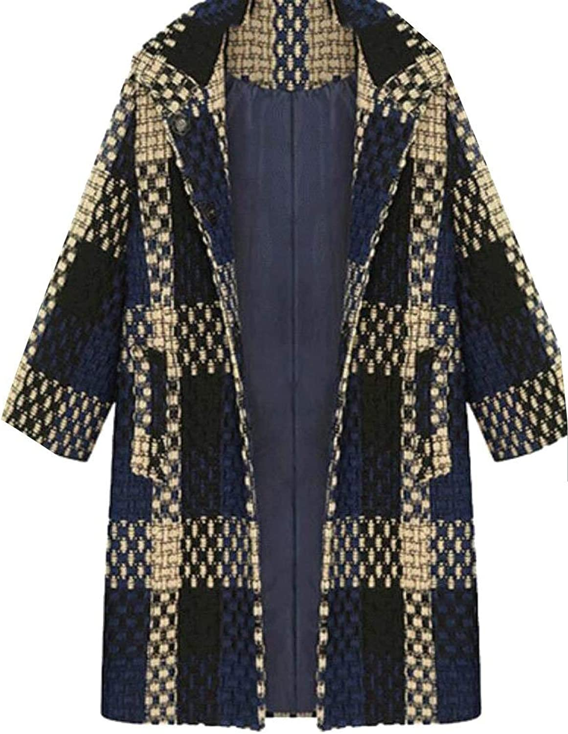 Alion Women's Casual Fit Plaid Open Front Wool Jackets Overcoat