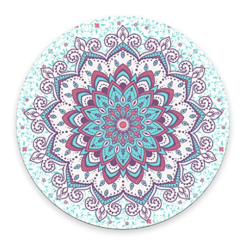 Islamic Style Pattern Mouse Pad,Abstract Round Ornament Circle Mandala Pattern Round Non-Slip Rubber Mouse Pad Mousepad Mat