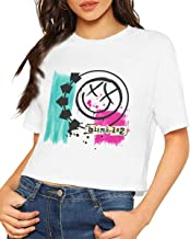 Blink 182 Happy Face Logo Dew Navel T Shirt Womens Short Sleeve Sexy Crop Top Shirts