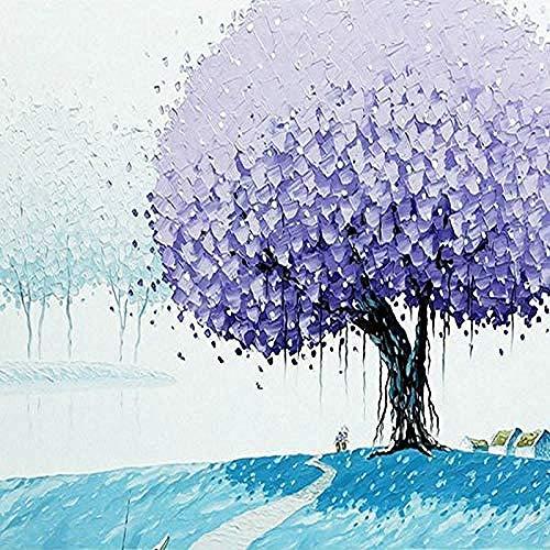 Mural tridimensional pintado a mano hermoso árbol púrpura dormitorio estudio murales personaliz Pared Pintado Papel tapiz 3D Decoración dormitorio Fotomural sala sofá pared mural-350cm×256cm
