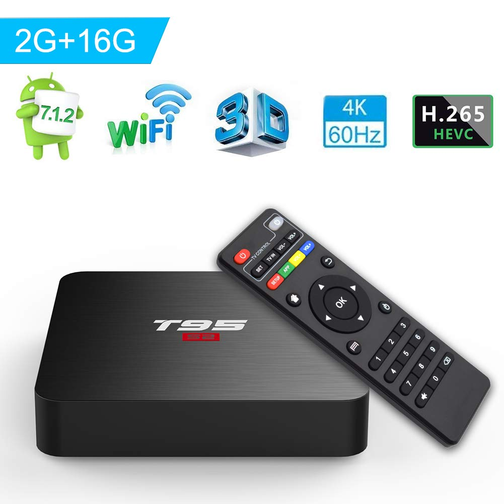 Android 7.1 TV Box, T95 S2 Android Box 2GB RAM 16GB ROM Amlogic S905W Quad core 64 Bits TV Box Supporting 4K Full HD/H.265/3D Outputs Game Player Smart TV Box