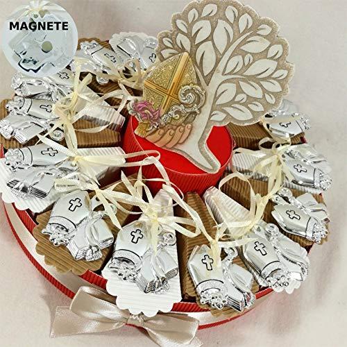 Torta bomboniera cresima Magnete Icona Sacra Argentata Confetti e Albero della Vita Inclusi (Torta con 14 fette)