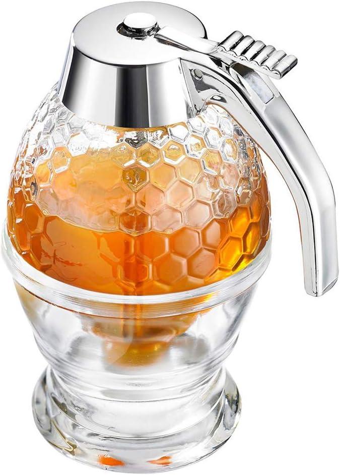 Westmark Dispensador de miel/sirope con soporte, Capacidad 200 ml, Diseño de panal, Vidrio/plástico, de lujo, Transparente/plateado, 65132260