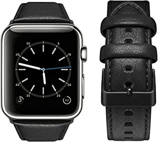 top4cus Genuine Leather iwatch Strap Replacement Band Stainless Metal Clasp, Compatible Apple Watch Series 4 Series 3 Series 2 Series 1 and Sport Edition (42 mm, Matte Black)