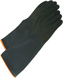 Heavy Black Rubber Crinkle Gloves with Roll Cuff - 14