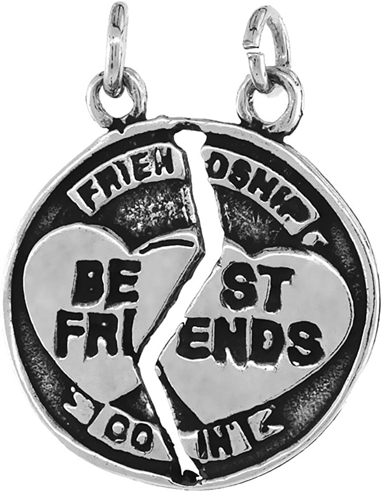 Sterling Silver Best Friend Necklace Large-scale sale Finish inch Oklahoma City Mall 1 16- Antiqued