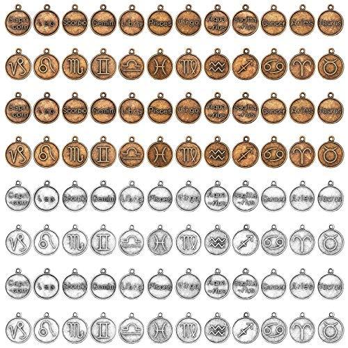 PandaHall 120 colgantes de 12 constelaciones, 2 colores, 18 mm, redondos, planos, amuletos de la suerte, de aleación tibetana, dijes del zodiaco para collar y pendientes