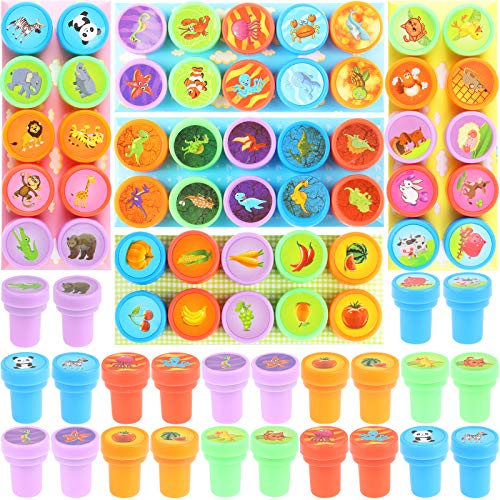 Ujuuu 50 PCS Assorted Self-Ink Stamp Set, Dinosaur Undersea Animal Vegetable and Fruit Style Self Ink Stamp Set for Children's Party Toys Painting Learning Supplies