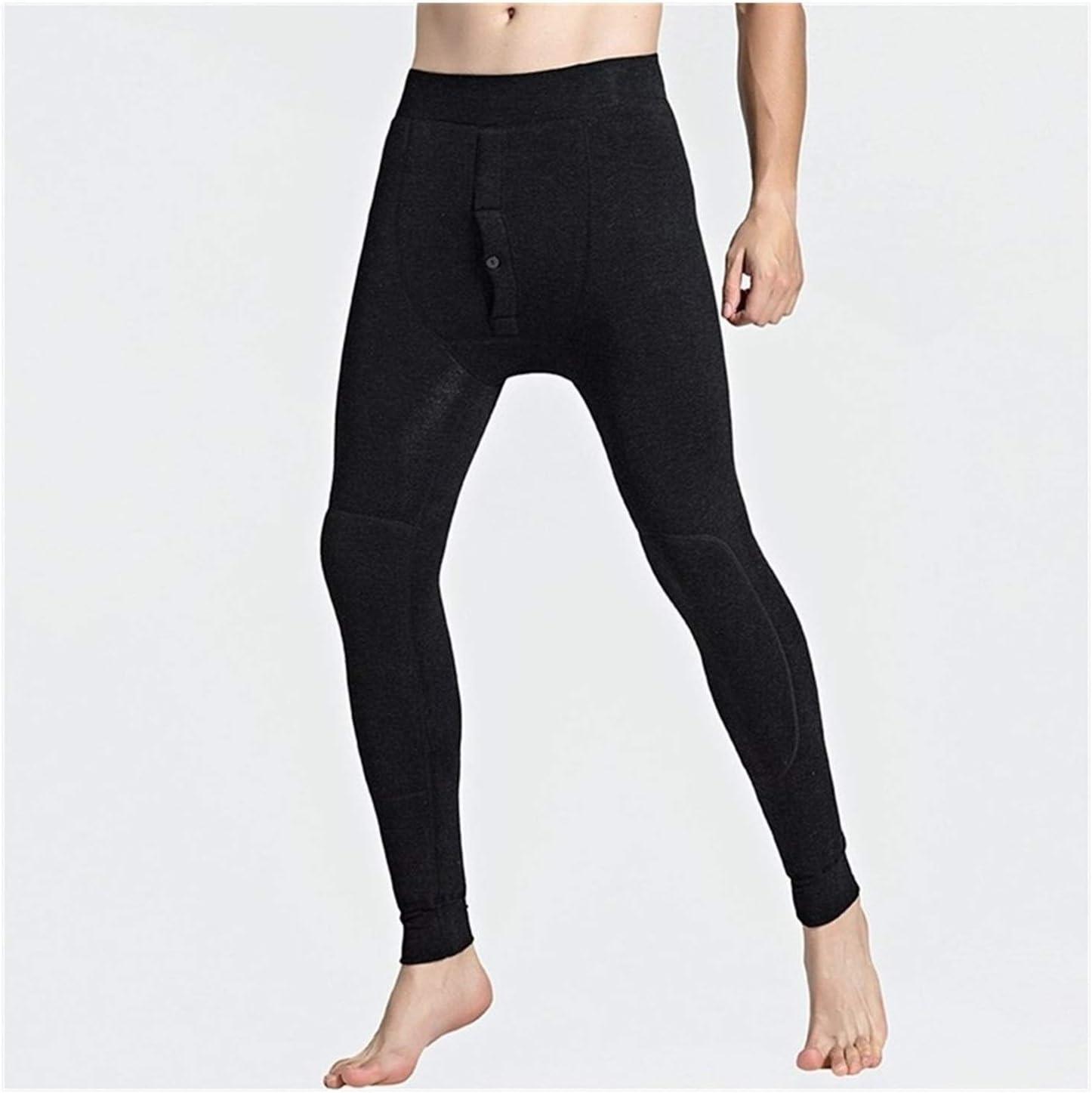 QWERBAM Below Zero 30 Degrees Super Warm Men's Leggings Winter Thermal Underwear Skinny Tights for Men Pants (Color : Black, Size : 4XL.)