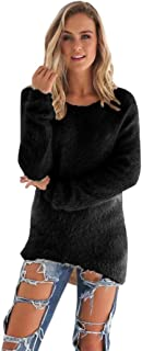 OVERMAL Womens Casual Solid Long Sleeve Jumper Sweaters Blouse Sweatshirts Fleece Soft Warm Tops Women's Knitted Pullover Sweater Crew Neck Long Sleeve Loose Casual Dress