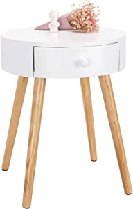 WOLTU Bedside Table with 1 Drawer Side Table Nightstand Bedroom Bedside Unit Cabinet White 38x38x48cm TS51ws-1