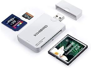 KiWiBiRD USB 3.0 (3.1 Gen 1) Lector Tarjetas de Alta Velocidad 9-in-1 para CF Compact Flash (UDMA), SD, SDHC, SDXC, Micro SD, Micro SDHC, Micro SDXC [Compatible con tarjetas UHS-I] – Blanco