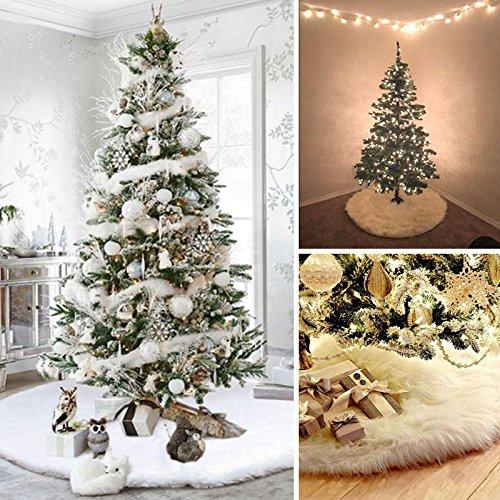 Gulin Jupe d'arbre Blanche Blanche de Noël, Arbre de Noël en Peluche Jupe Arbre Jupes Ornements, Décorations de Noël en Plein air