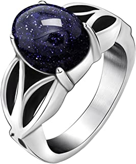 FANSING Womens Rings Celtic, Blueish Galaxy Stone Ring, Stainless Steel, Size 6-11