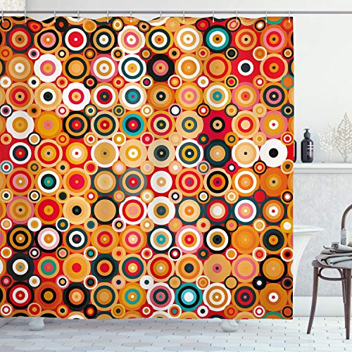 """Ambesonne Modern Art Shower Curtain, Disc Rounded Linked Forms with Deep Concentric Vortex Lines Nostalgic Sixties Art, Cloth Fabric Bathroom Decor Set with Hooks, 84"""" Long Extra, Orange"""