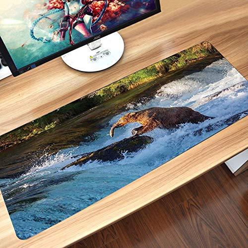 Gaming-Mauspad Gummiunterseite,Wasserfall, Bild des großen Bären von einem Felsen in Alaska Wasserfall Wildl,Schreibtischunterlage Abwischbar Anti Rutsch Matte Multifunktionales Office Mousepad60x35cm