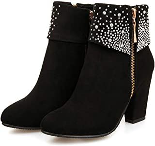 SNIDEL Womens Ankle Work Boots Mid Heel Party Pump Booties Autumn Bling Shoes with Rhinestones