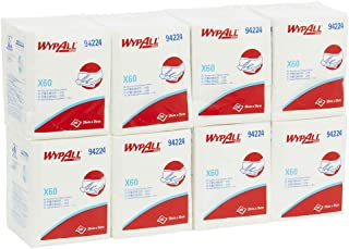 WypAll 94224 WypAll X60 Single Sheet Wipers, White, 100 Wipers/Pack, Case of 8 Packs, White 5.680 kilograms