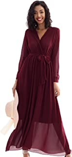 Women's Dress Casual Maxi Dress with Deep V Neck Long Sleeve Swing Chiffon Maxi Dress with Sash