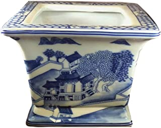 Asian Caravan Blue and White Chinese Porcelain Square Planter