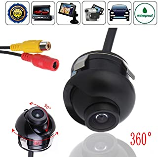 CAIRUTE Universal Mini CCD High Definition Night Vision 360 Degree Car Rear Front Side View Backup Camera With Mirror Image Conversion Lines