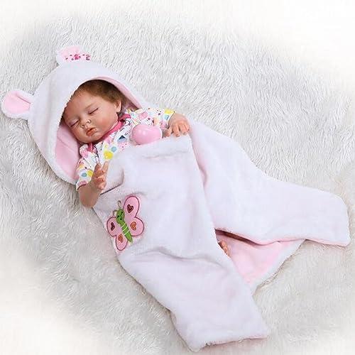 Réaliste Reborn Bébé Poupée Tissu Doux Corps Toddler Poupée Oeil Fermé Enfant Jouer Dormir Jouet d'anniversaire Festive Cadeau HOJZ