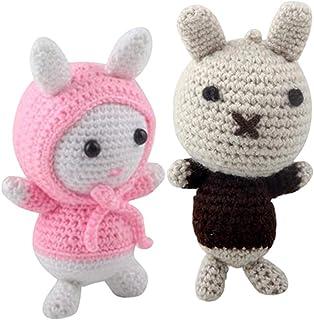 Milageto Kit de Crochet Bricolage Amigurumi pour Adultes Débutants Lapin Rose et Noir Fait à La Main