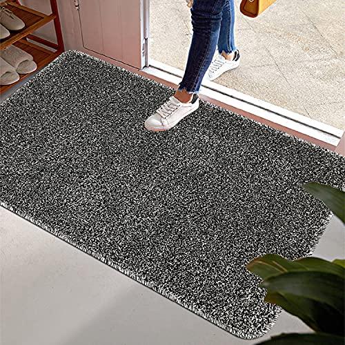 Pauwer Tapis d'intérieur pour Porte d'entrée Revêtement en Caoutchouc antidérapant Tapis d'entrée Super Absorbant Durable à l'intérieur Dirts Tapis de Trappeur (80X120cm, Noir)