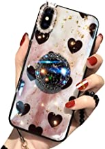 Aulzaju iPhone Xs Max Bling Ring Stand Case, iPhone Xs Max Super Soft Crystal TPU Shiny Shockproof Case Fashion Beauty Love Heart Cover for iPhone Xs Max 6.5 Inch