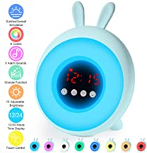 CrazyFire Sunrise Alarm Clock,Kids Alarm Clock with Sunrise/Sunset Simulation,8 Colors,5 Alarm Sounds,15 Adjustable Brightness and Touch Control,Wake up Light Alarm Clocks for Bedrooms,Festival