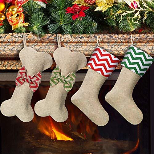 Calze di Natale per Animali Domestici Natale Calze di Dog Bone per Cane e Gatto Calze d'Attaccatura da Camino per Natale Decorazione Ornamento per Animali Domestici Fai Da Te, Confezione da 4