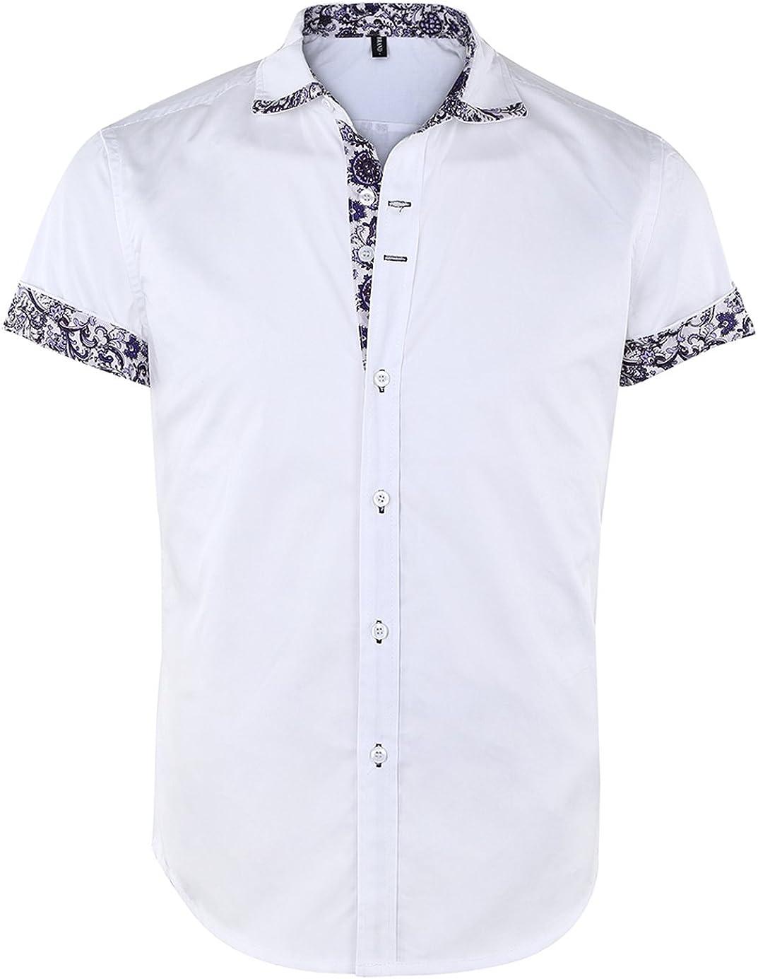 Jandukar Short Sleeve OFFicial store Dress Shirts for Ranking TOP10 Up Shi Collard Button Men