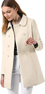Women's Peter Pan Collar Double Breasted Winter Long Trench Pea Coat
