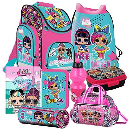 L.O.L LOL Surprise 8 Teile Set Tornister Ranzen Schulranzen Tasche inklusive Sticker-von-Kids4shop Federmappe Sporttasche Puppen
