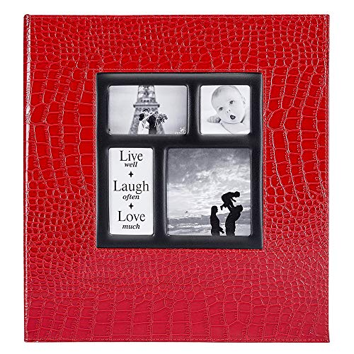 Ywlake Photo Album 4x6 500 Pockets Photos Croco, Extra Large Capacity Family Wedding Picture Albums Holds 500 Horizontal and Vertical Photos Red