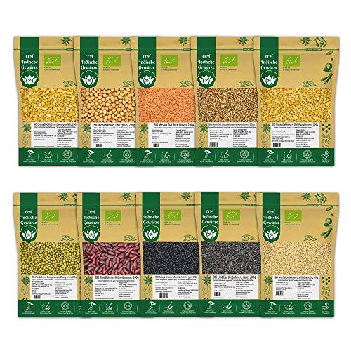 BIO Indische Hülsenfrüchte 10er SET - 2 Kg - Dal, Linsen, Bohnen, Kichererbsen - Mungobohnen, Urdbohnen, Mung Dal, Rote Linsen, Toor Dal, Chana Dal