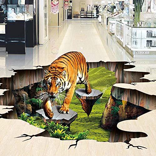 3D estéreo realista tigre suelo mural papel tapiz parque al aire libre 3D baldosas pegatina antideslizante impermeable engrosado 3D papel tapiz-150 * 105cm