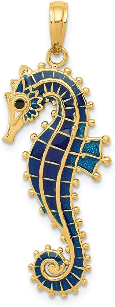 14k Yellow Gold 3 D Blue Enameled Seahorse Pendant Charm Necklace Fish Sea Life Fine Jewelry For Women Gifts For Her