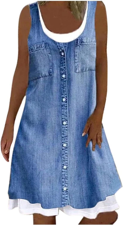 FUNEY 2021 Fashion Women Denim Shirt Dresses Long Sleeve Distressed Jean Dress Button Down Casual Maxi Dress Tunic Top