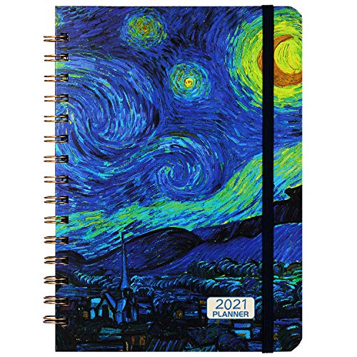 """2021 Planner - Weekly & Monthly Planner 6.37"""" x 8.46"""" with Hardcover, Starry Cover, Calendar, Monthly Tabs, Back Pocket, Twin-Wire Binding, Perfect for Your Life"""