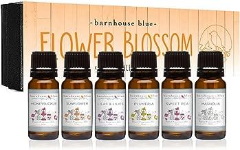 Flower Blossom Premium Grade Fragrance Oil - Gift Set 6/10ml Bottles - Honeysuckle, Lilac & Lilies, Sweet Pea, Plumeria, Magnolia, Sunflower